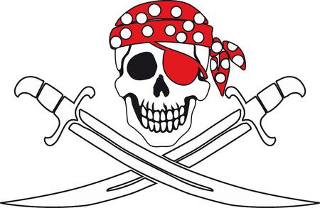 Jolly Roger Pirate signe sur fond blanc avec un fond blanc sur le contour intérieur.
