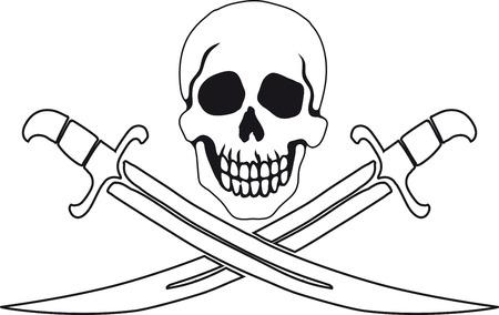 Jolly Roger Pirate muestra en el fondo blanco con fondos blancos en el contorno interior. Ilustración de vector