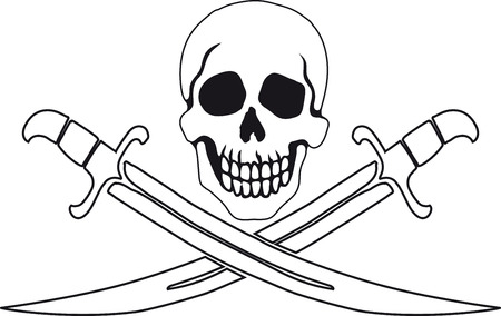 Jolly Roger Pirate sign on white background with white backgrounds on the inside contour. Vector Illustration