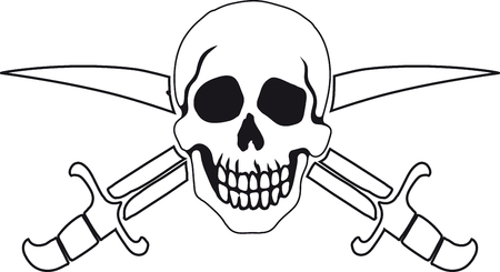 mercenary: Jolly Roger Pirate sign on white background with white backgrounds on the inside contour.