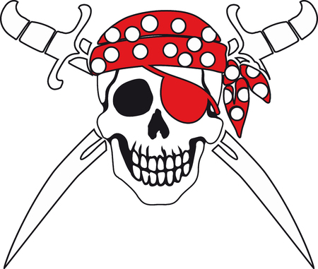 freebooter: Jolly Roger Pirate sign on white background with white backgrounds on the inside contour.