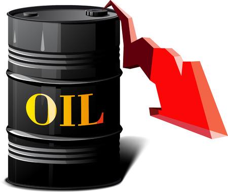 riesgo quimico: barril de metal con el aceite y la flecha que muestra los precios a la baja