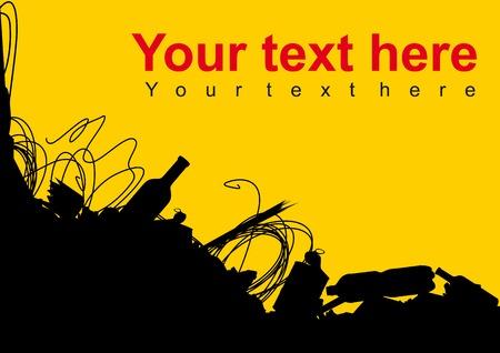 El espacio en blanco del cartel con el montón de basura de llamadas no contaminante y no tirar basura Ilustración de vector