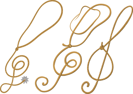 Concept treble clef made in the cowboy style in the form of lasso or hats.