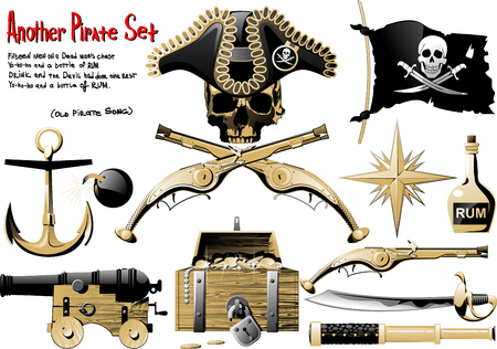 pirates flag design: Another big Pirate Set with arms, treasures and pirate symbol