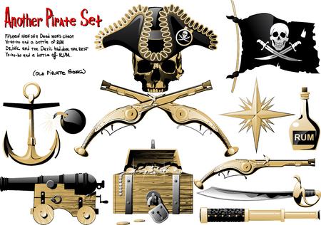 pirata: Otra gran pirata Set con armas, tesoros y s�mbolo del pirata Vectores