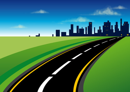 landscape road: Curved asphalt road that leads to the city situated on the horizon line through the green fields Illustration