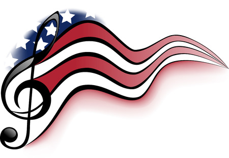 Treble clef and notes on a background winding United States of America flag Stock Illustratie