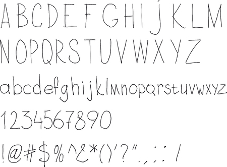 sloppy: Simple sloppy handwriting. Alphabet for daily fill of papers