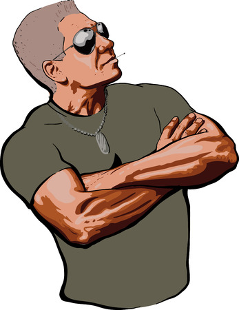force: brave American Sergeant in shirt and sunglasses looks provocatively folded arms