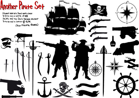 Large set of silhouettes image for true pirates with ammunition, ships and weapons Stock Vector - 53990946
