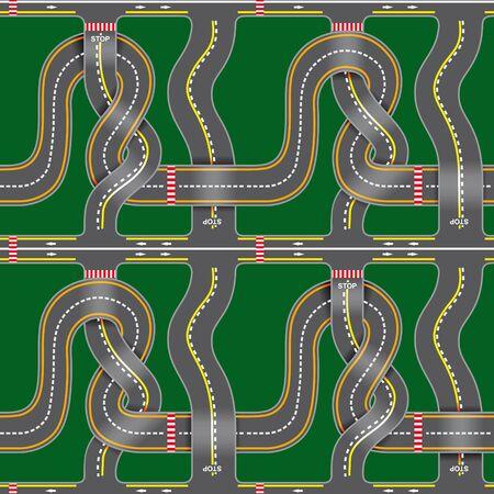 bends: Seamless road map with bridges, bends, asphalt on green background Illustration