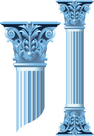 Ancient stone columns whose height is easy to change. Isolated on white Stock Illustratie