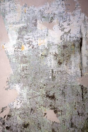 old wallpaper: old dirty wall with traces of torn wallpaper and plastered with blade Stock Photo