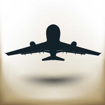 illuminator: simple square Pictogram plane taking off on beige background