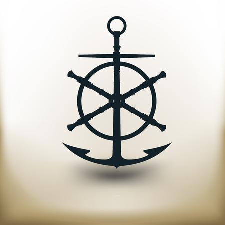 voilier ancien: simple carré pictogrammes ancre antique et la roue sur fond beige