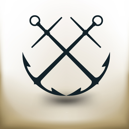 crossed: simple square pictogram of two crossed anchors on beige background Illustration