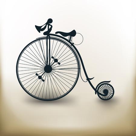 simple carré pictogrammes de vélos vintage sur fond beige