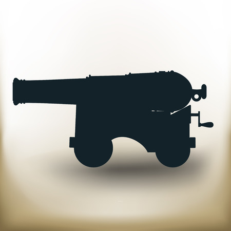 cannonball: simple square pictograms Ancient a cannon on beige background Illustration