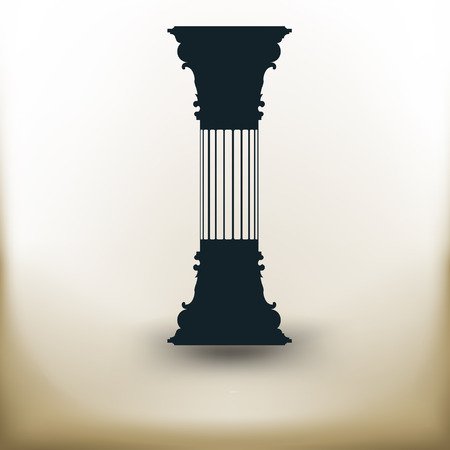 column: simple square pictograms vertical ancient columns on beige background Illustration