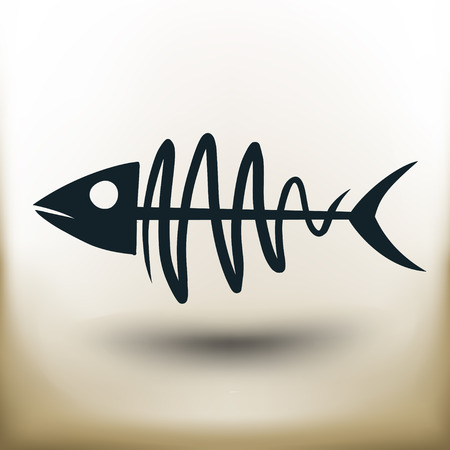 deathly: simple square pictograms fish skeleton on beige background