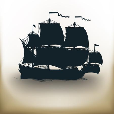 proste kwadratowe piktogramy starożytnego statku na beżowym tle