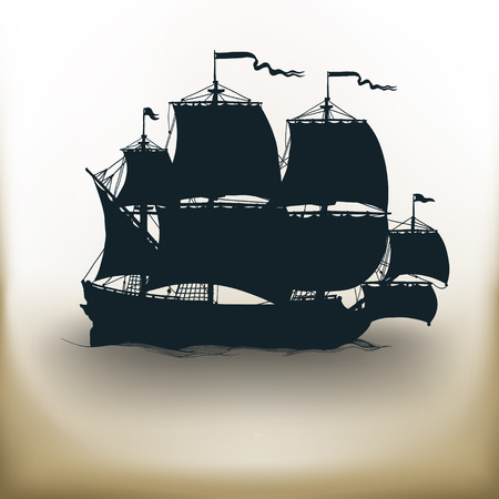 brigantine: simple square pictograms ancient ship on beige background
