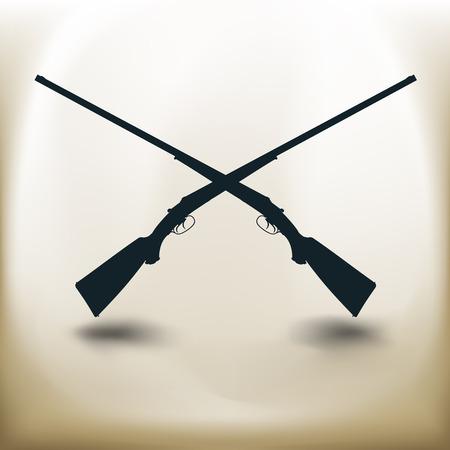 tiro al blanco: pictogramas cuadrados simples rifles cruzados en el fondo de color beige Vectores