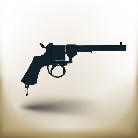 old square: simple square pictogram old revolver on beige background