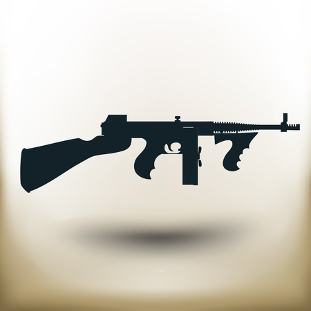 pistola: máquina simple Thompson pictograma cuadrado sobre fondo de color beige