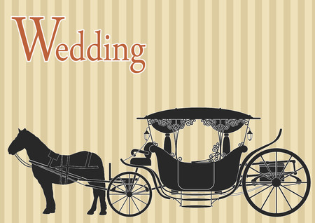 brougham: Beautiful wedding carriage drawn by horses on striped background
