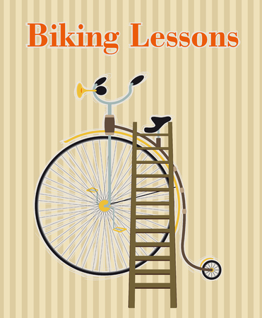 wooden stairs: Concept Announcement training biking. Is shown vintage bicycle with him put to the wooden stairs
