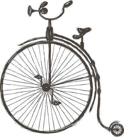 Retro rower z dużym kołem przednim namalowane w stylu doodle