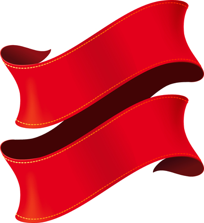 bright: Elegant curved red ribbon with yellow stitching on white background Illustration