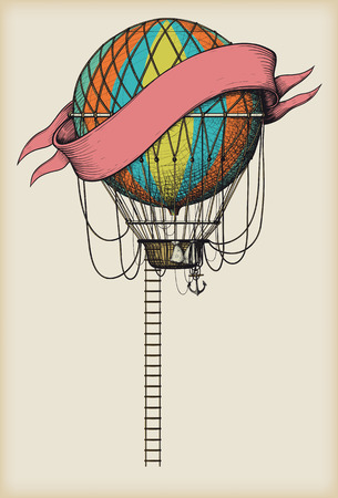 Retro colored hot air balloon with the banner and ladder on vintage beige background Illustration