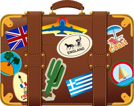 case: old fashioned brown suitcase side view with trip label Illustration