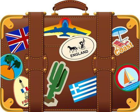 bagagli: vecchio stile valigia marrone vista laterale con etichetta viaggio