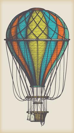 Retro farbiger Heißluftballon auf Vintage beige Hintergrund