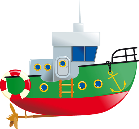 horizon over water: Cartoon small boat with lifeline and screw isolated on white background Illustration