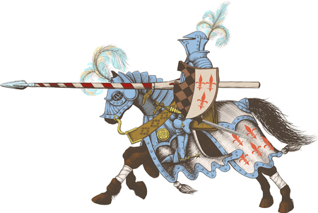 joust: Horseback Knight of the tournament with a spear at the ready galloping towards the opponent Illustration