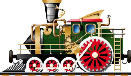 Locomotive à vapeur Steampunk Fictif sur fond blanc vue de côté