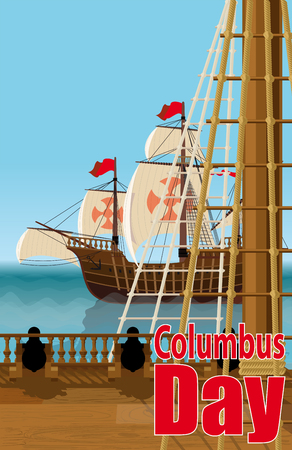 christopher columbus: Columbus Day. The view from the deck of one of Columbus ships over the ocean and neighboring Caravel