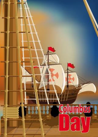 caravelle: Columbus Day. La vue depuis la terrasse de l'un des navires de Columbus sur l'océan et voisins Caravel Illustration
