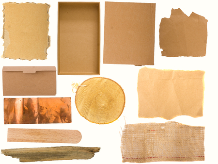 tack board: variety of backgrounds, paper, burlap, wood and copper on the white background