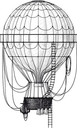 voyage vintage: Vintage ballon à air chaud avec échelle isolé sur blanc