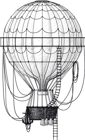 Vintage hot air balloon with ladder isolated on white Ilustrace