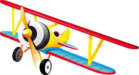 biplane: brightly colored retro classic biplane in flight. Isolated on white Illustration