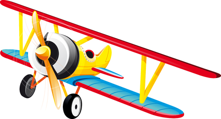 brightly colored retro classic biplane in flight. Isolated on white Illustration