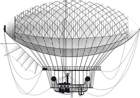 blimp: Fictional retro dirigible with basket passenger ladders and left wing on white background