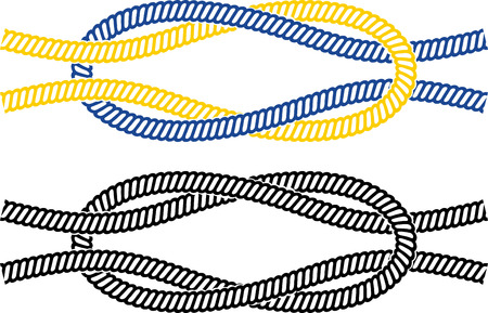 fixation: Simple marine node image of the two ropes color and black white